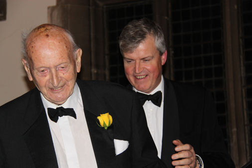 Headmaster congratulates Geoffrey Prall on his</br></br>                95th birthday